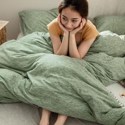 2019新款针织段彩双拼四件套 1.2m床三件套(床单款) 段彩薄荷绿