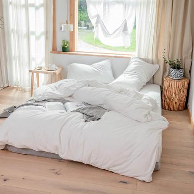 2019新款针织纯色四件套 1.2床单款三件套 白色
