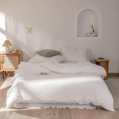 2020新款蕾丝款针织四件套 1.2m床单款三件套 藕色