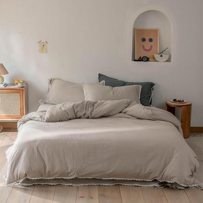 2020新款蕾丝款针织四件套 1.2m床单款三件套 杏色