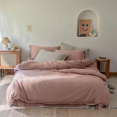 2020新款蕾丝款针织四件套 1.2m床单款三件套 紫粉