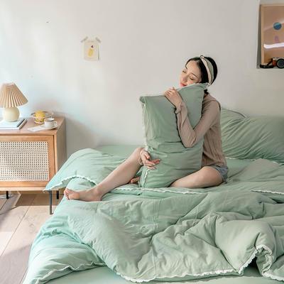 2020新款蕾丝款针织四件套 1.2m床单款三件套 蕾丝款 豆绿