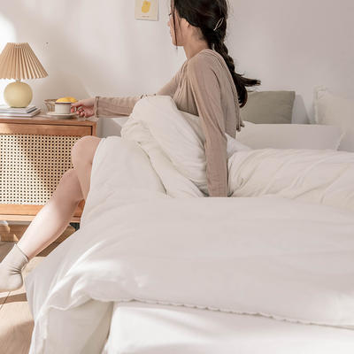 2020新款蕾丝款针织四件套 1.2m床单款三件套 蕾丝款 白色