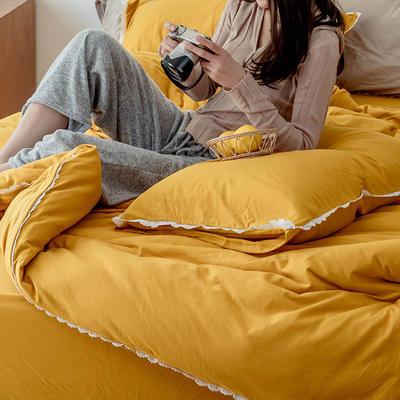 2020新款蕾丝款针织四件套 1.2m床单款三件套 蕾丝款 姜黄