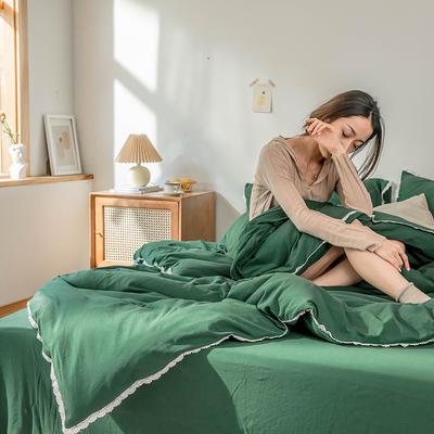 2020新款蕾丝款针织四件套 1.2m床单款三件套 蕾丝款 墨绿