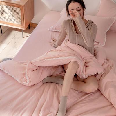 2020新款蕾丝款针织四件套 1.2m床单款三件套 蕾丝款 嫩粉