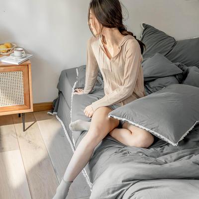 2020新款蕾丝款针织四件套 1.2m床单款三件套 蕾丝款 深灰