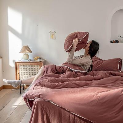 2020新款蕾丝款针织四件套 1.2m床单款三件套 蕾丝款 砖红