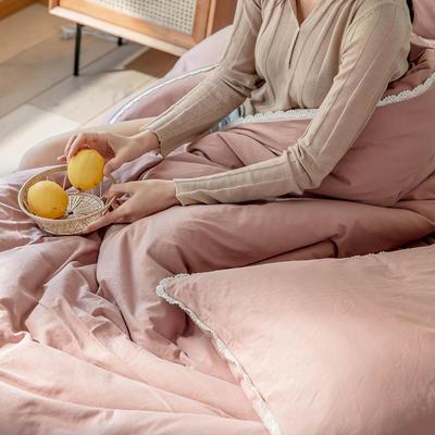 2020新款蕾丝款针织四件套 1.2m床单款三件套 蕾丝款 紫粉