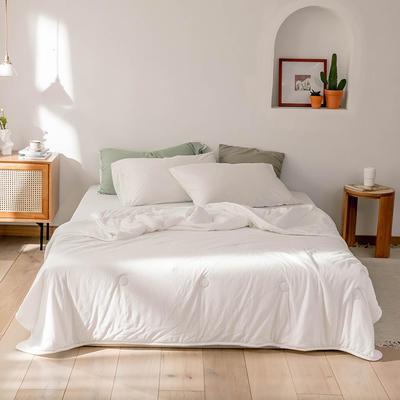2020新款蕾丝针织棉全棉夏被 夏被150*200cm 白色-纯色款