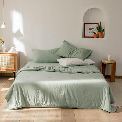 2020新款蕾丝针织棉全棉夏被 夏被100*150cm 豆绿-纯色款