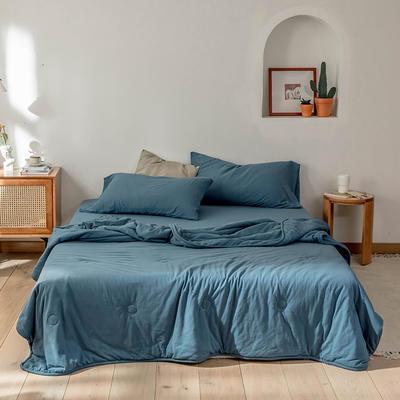 2020新款蕾丝针织棉全棉夏被 夏被150*200cm 海蓝-纯色款