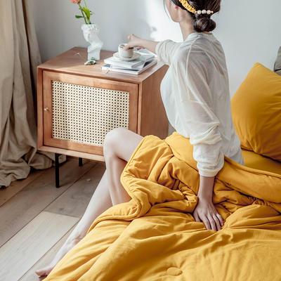 2020新款蕾丝针织棉全棉夏被 夏被100*150cm 姜黄-纯色款