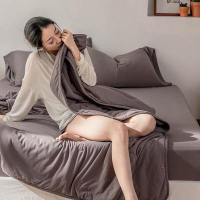 2020新款蕾丝针织棉全棉夏被 夏被150*200cm 藕色-纯色款