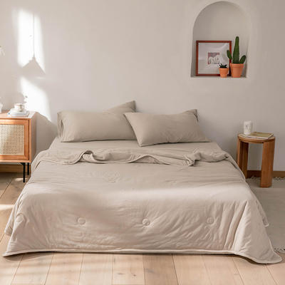 2020新款蕾丝针织棉全棉夏被 夏被150*200cm 杏色-纯色款