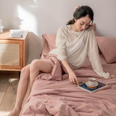 2020新款蕾丝针织棉全棉夏被 夏被100*150cm 紫粉-纯色款