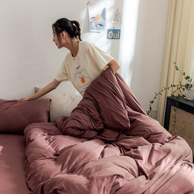 2020新款纯色针织单床笠 120*200cm单床笠 砖红