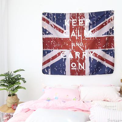 ins抖音背景布挂布卡通可爱美少女装饰画卧室拍照宿舍壁挂毯墙布 130*150 米字旗