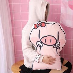 网红款超大二次元卡通可爱发财猪猪绒面抱枕暴富靠垫坐垫靠枕头pp棉 压缩尺寸45cm*60cm 变美猪