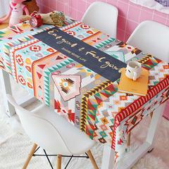 2018新款ins网红美少女波点格子草莓绿植北欧日系猫加厚棉麻茶几办公桌布 140*110cm 波西米亚