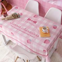 2018新款ins网红美少女波点格子草莓绿植北欧日系猫加厚棉麻茶几办公桌布 140*110cm 粉格子草莓