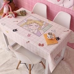 2018新款ins网红美少女波点格子草莓绿植北欧日系猫加厚棉麻茶几办公桌布 140*110cm 格子美少女