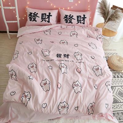 纯棉卡通床上用品全棉宿舍儿童史努比暴富旺仔发财猪芝麻街四件套 1.2m(4英尺)床 发财猪