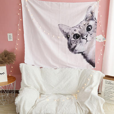 ins抖音背景布挂布卡通可爱美少女装饰画卧室拍照宿舍壁挂毯墙布 130*150 白猫
