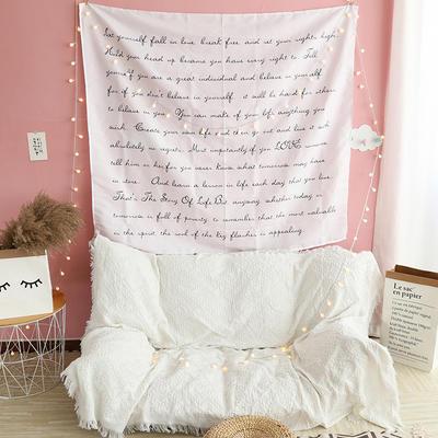 ins抖音背景布挂布卡通可爱美少女装饰画卧室拍照宿舍壁挂毯墙布 130*150 文字