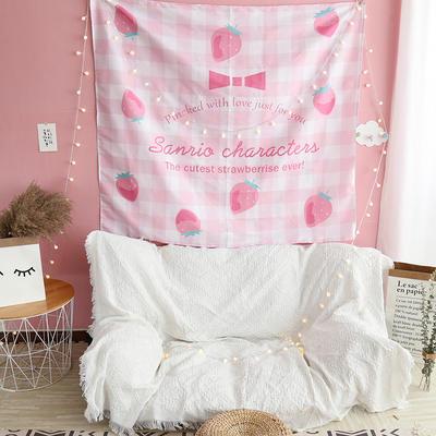 ins抖音背景布挂布卡通可爱美少女装饰画卧室拍照宿舍壁挂毯墙布 130*150 草莓格子