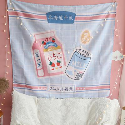 ins抖音背景布挂布卡通可爱美少女装饰画卧室拍照宿舍壁挂毯墙布 130*150 日本牛乳