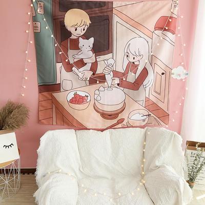 ins抖音背景布挂布卡通可爱美少女装饰画卧室拍照宿舍壁挂毯墙布 130*150 蛋糕情侣