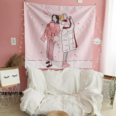ins抖音背景布挂布卡通可爱美少女装饰画卧室拍照宿舍壁挂毯墙布 130*150 闺蜜