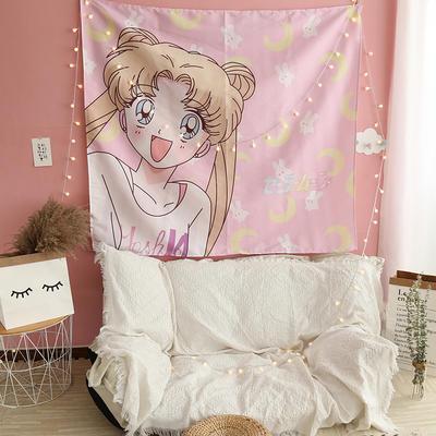 ins抖音背景布挂布卡通可爱美少女装饰画卧室拍照宿舍壁挂毯墙布 130*150 露娜