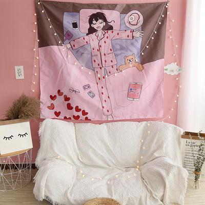ins抖音背景布挂布卡通可爱美少女装饰画卧室拍照宿舍壁挂毯墙布 130*150 睡觉少女