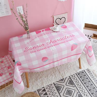 美少女心泫雅风小飞象猪猪卡通可爱桔子亚麻棉麻桌布盖布茶几布 尺寸二:110*140cm 草莓格子