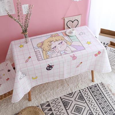 美少女心泫雅风小飞象猪猪卡通可爱桔子亚麻棉麻桌布盖布茶几布 尺寸二:110*140cm 格子美少女