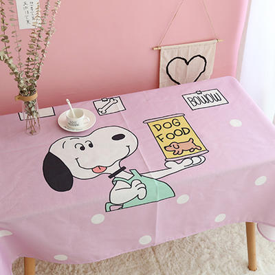美少女心泫雅风小飞象猪猪卡通可爱桔子亚麻棉麻桌布盖布茶几布 尺寸一:70*70cm 零食史努比