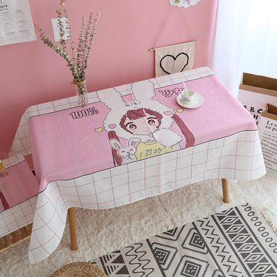 美少女心泫雅风小飞象猪猪卡通可爱桔子亚麻棉麻桌布盖布茶几布 尺寸一:70*70cm 兔耳朵少女