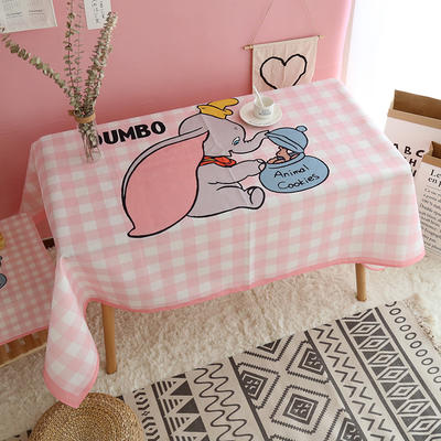 美少女心泫雅风小飞象猪猪卡通可爱桔子亚麻棉麻桌布盖布茶几布 尺寸一:70*70cm 小飞象