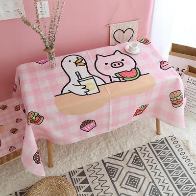 美少女心泫雅风小飞象猪猪卡通可爱桔子亚麻棉麻桌布盖布茶几布 尺寸一:70*70cm 猪猪和大鹅
