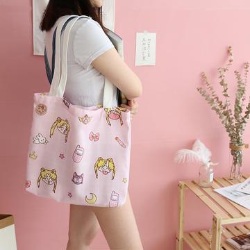 帆布包买菜杂物电脑包手提包美少女心小飞象泫雅风加厚12安双面印花