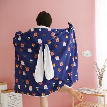 四季可用办公披肩盖斗篷毯浴袍牛油果美少女午睡披肩毯兔耳朵斗篷毯魔法毯