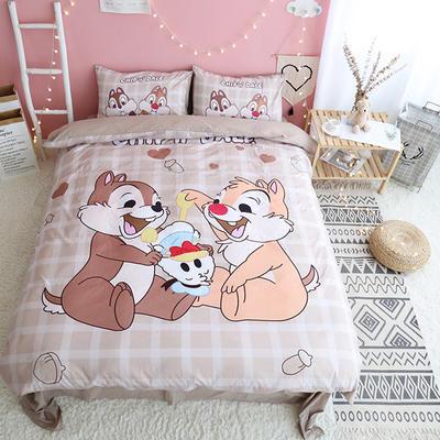 纯棉款美少女心卡通可爱扭蛋机小飞象暴富猪史努比达菲熊面包超人爆款宿舍单双人床三四件套 1.2m-1.35m床单款三件套 两只松鼠