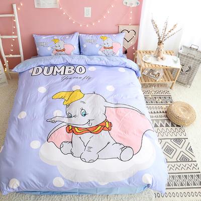 纯棉款美少女心卡通可爱扭蛋机小飞象暴富猪史努比达菲熊面包超人爆款宿舍单双人床三四件套 1.2m-1.35m床单款三件套 小飞象