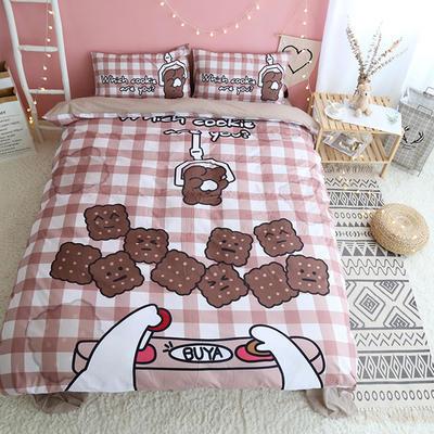 纯棉款美少女心卡通可爱扭蛋机小飞象暴富猪史努比达菲熊面包超人爆款宿舍单双人床三四件套 1.2m-1.35m床单款三件套 小熊饼干