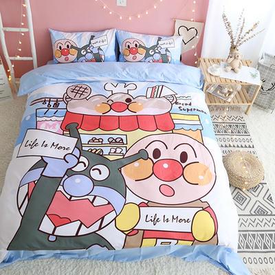 纯棉款美少女心卡通可爱扭蛋机小飞象暴富猪史努比达菲熊面包超人爆款宿舍单双人床三四件套 1.2m-1.35m床单款三件套 蓝色面超