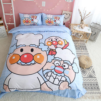 纯棉款美少女心卡通可爱扭蛋机小飞象暴富猪史努比达菲熊面包超人爆款宿舍单双人床三四件套 1.2m-1.35m床单款三件套 面包超人