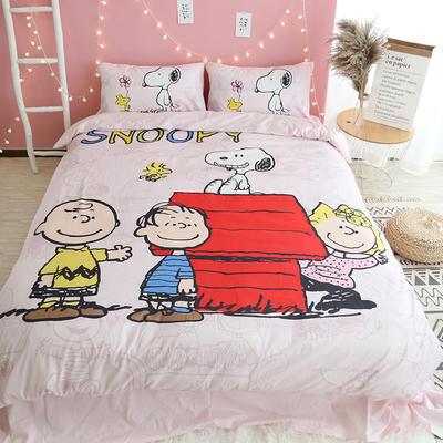 纯棉款美少女心卡通可爱扭蛋机小飞象暴富猪史努比达菲熊面包超人爆款宿舍单双人床三四件套 1.2m-1.35m床单款三件套 史奴比