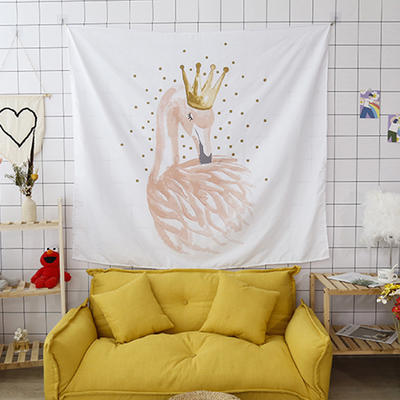 ins抖音背景布挂布卡通可爱美少女心北欧日系装饰画卧室拍照宿舍壁挂毯盖布墙布 130*150 皇冠火鸟